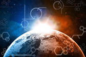 Planet earth technology background — Stock Photo