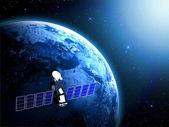 Blue planet earth and satellite in space. — 图库照片
