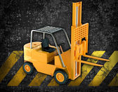 Grunge construction background with bulldozer elevator — Stock Photo