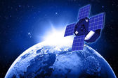 Blue planet earth and satellite in space. — Stock Photo