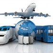 Travel composite with plane , suitcase , globe , bus and train — Stock Photo #25556037