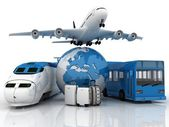 Travel composite with plane , suitcase , globe , bus and train — Stock Photo