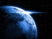 Uzayda dünya gezegeni gündoğumu ile — Stok fotoğraf