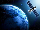 Earth and satellite in space — Stock Photo