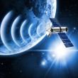 Satellite transmission data in space — Stock Photo