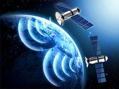 överföring av satellitdata i rymden — Stockfoto