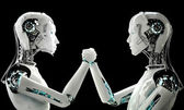 Men robot and women robot together — Stock Photo