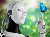 Robot android woman with butterfly in nature — Stock Photo