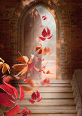 Autumn leaves fall through the open door — Стоковое фото