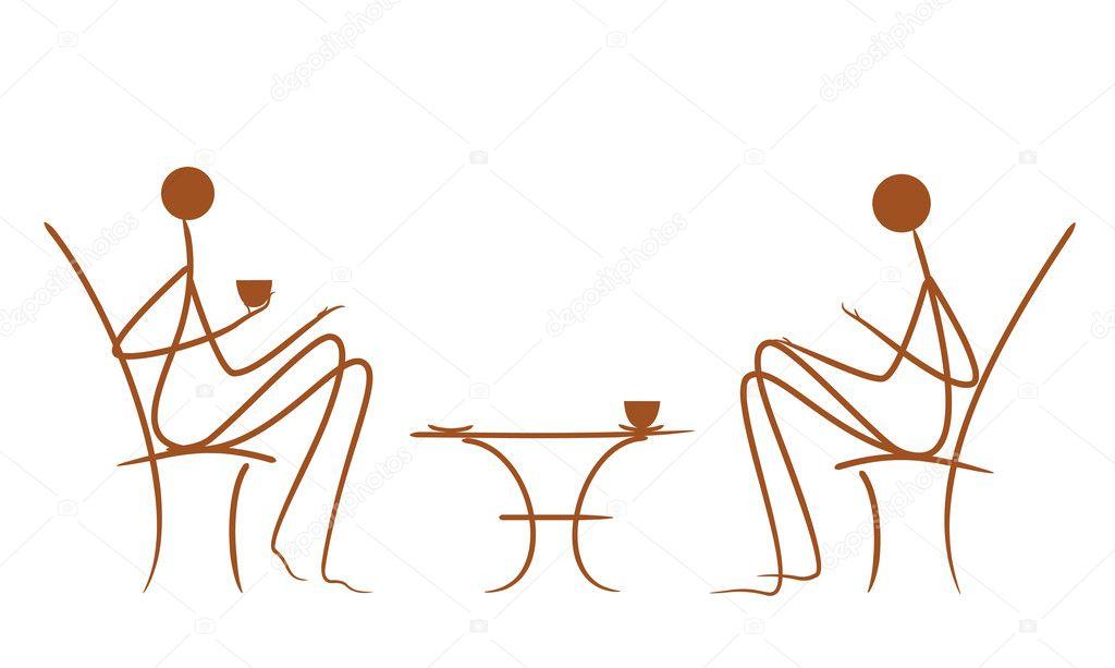 Vecteur symbolique dessin des couples au caf image - Symbolique du chat ...