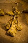 Ketupat: South East Asian rice cakes bundle, often prepared for — Stock Photo