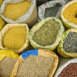 Spices for sale in indian market - Stock Photo