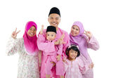 Malay family in traditional malay clothing — Stock Photo