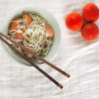 Malaysian chinese fried bean sprout with tomatoes — Stock Photo