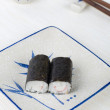 Stock Photo: Sushi on plate with chopstick and tecup