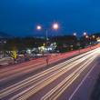 Urban night traffics with focus on the road. — Stock Photo