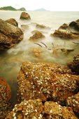 Larga exposición de rocas en el mar — Foto de Stock