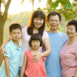 Stock Photo: Extended family standing outdoors smiling