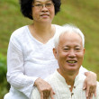 Stock Photo: AsiSenior Couple at outdoor park