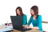 Asian girl on the internet — Stock Photo