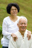 Asian Senior Couple at outdoor park — Stock Photo