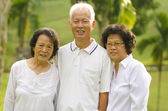 Three Senior Asian Smiling — Stock Photo