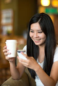 Asian woman lifestyle with coffee — Stock Photo