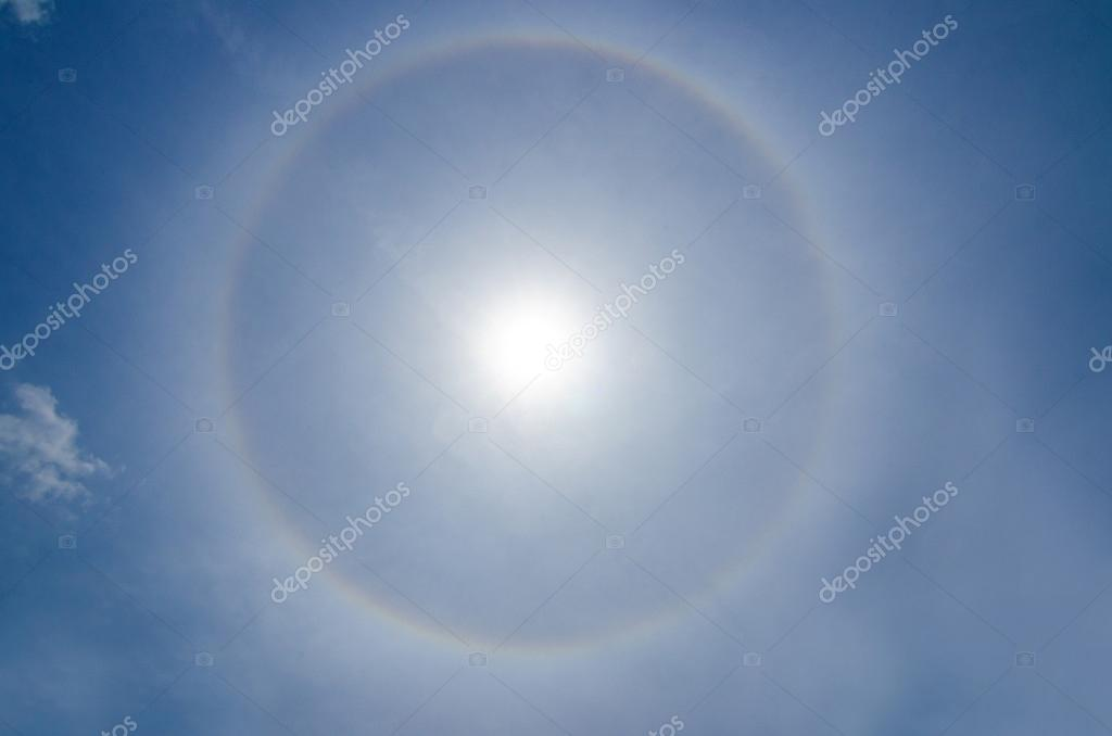 Halo Sun phenomenon, in Malaysia 2nd October 2012, Atmospheric  Natural Phenomenon caused by ice clouds   Stock Photo #14033579
