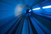 Blur motion of tunnel in blue tone — Stock Photo