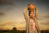 Traditional myanmar farmer — Stock Photo