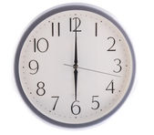Isolated white clock at six — Stock Photo