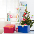 Closeup on table Christmas decorations — Stock Photo