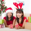 Asian friend lifestyle christmas photo — Lizenzfreies Foto