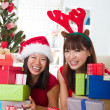 Zdjęcie stockowe: Asian friend lifestyle christmas photo