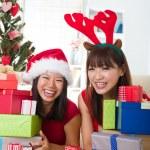 Asian friend lifestyle christmas photo — Stock Photo