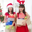Asian friend lifestyle christmas photo — Stockfoto #14930983