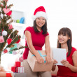 Stock Photo: Asian christmas friends