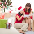 Asian christmas friends — Stockfoto