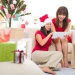 Asian christmas friends — Stock Photo