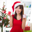 Asian girl during christmas — Stock Photo