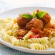 Tasty looking spaghetti bolognese, focus on meatballs — 图库照片
