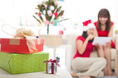 Asian christmas friends — Stock Photo