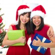 Asian friend lifestyle christmas photo — Stock Photo
