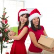 Asian friend lifestyle christmas photo — Foto de Stock