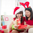 Asian friends christmas celebration , chinese south east asian e — 图库照片
