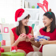 Asian friends christmas celebration , chinese south east asian e — Stock Photo