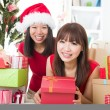 Asian friends christmas celebration , chinese south east asian e — Stok fotoğraf