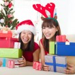 Asian friends christmas celebration , chinese south east asian e — ストック写真