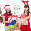 Foto Stock: Asian friends christmas celebration , chinese south east asian e