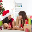 Chinese girls celebrating christmas — Stock Photo